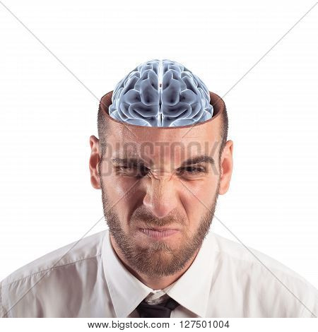 Man with a brain that is seen