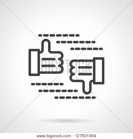 Thumb up and thumb down button. Approve and reject sign. Elements for social networks, digital marketing.  Simple black line vector icon. Single element for web design, mobile app.