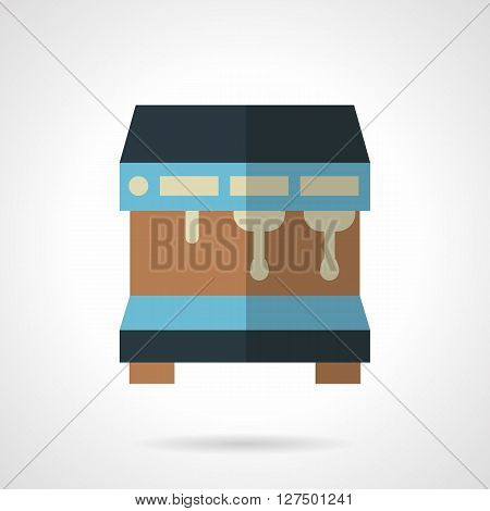 Professional equipment for cafe, coffee shops and restaurant. Commercial coffee making. Blue coffee machine with two brewers. Flat color vector icon. Web design element for site, mobile and business.
