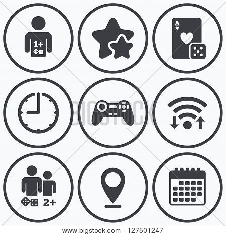 Clock, wifi and stars icons. Gamer icons. Board games players signs. Video game joystick symbol. Casino playing card. Calendar symbol.