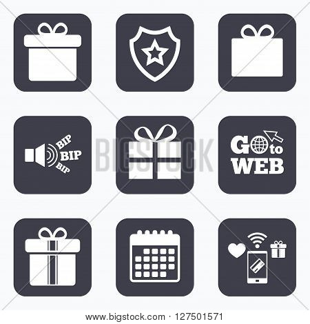 Mobile payments, wifi and calendar icons. Gift box sign icons. Present with bow and ribbons sign symbols. Go to web symbol.