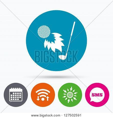 Wifi, Sms and calendar icons. Golf fireball with club sign icon. Sport symbol. Go to web globe.