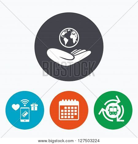 World insurance sign. Hand holds planet symbol. Travel insurance. World peace. Mobile payments, calendar and wifi icons. Bus shuttle.