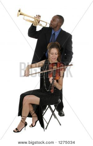 Two Musicians Tuning Up For A Concert