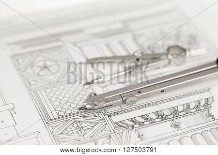 compasses & architectural drawing
