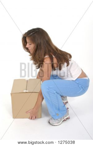 Beautiful Woman Lifting Box 1