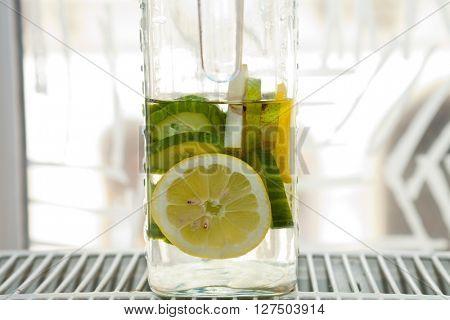Detail of a lemonade in a jar