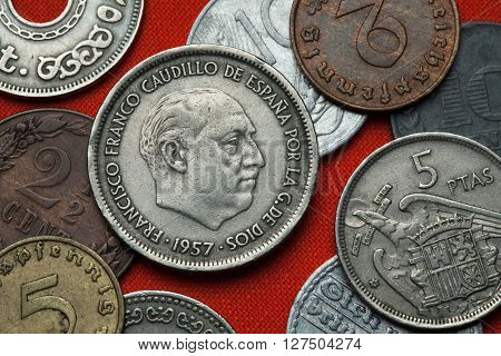 Coins of Spain under Franco. Spanish dictator Francisco Franco depicted in the Spanish 25 peseta coin (1957).