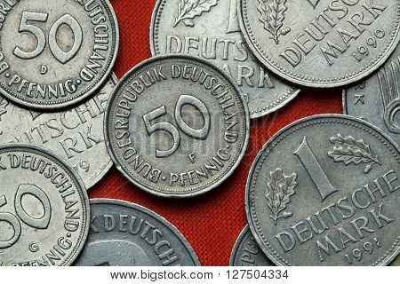 Coins of Germany. German 50 pfennig coin.