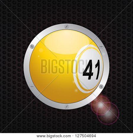 Yellow 3D Bingo Ball on Metallic Frame with Screws over Black Honeycomb Metallic Background