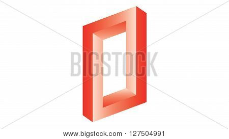 Abstract optical illusion twisted geometric shape on white background - 3D illustration