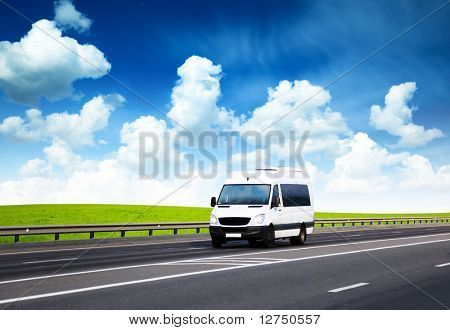 van on road and perfect summer day