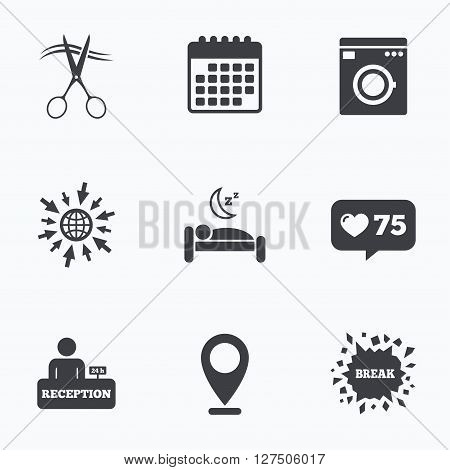 Calendar, like counter and go to web icons. Hotel services icons. Washing machine or laundry sign. Hairdresser or barbershop symbol. Reception registration table. Quiet sleep. Location pointer.