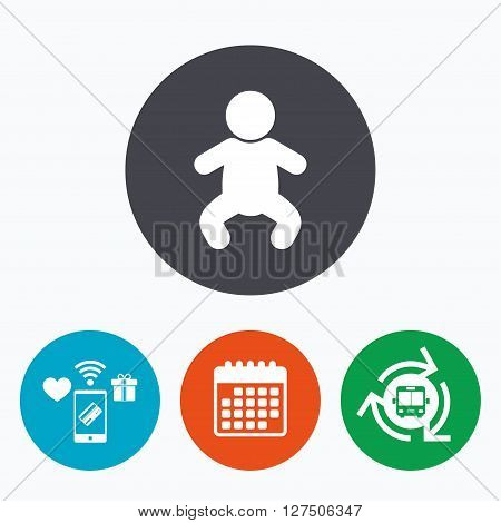 Baby infant sign icon. Toddler boy in pajamas or crawlers body symbol. Child WC toilet. Mobile payments, calendar and wifi icons. Bus shuttle.