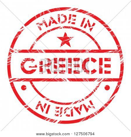 Made in Greece grunge rubber stamp