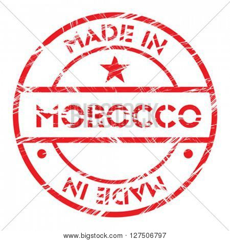 Made in Morocco grunge rubber stamp