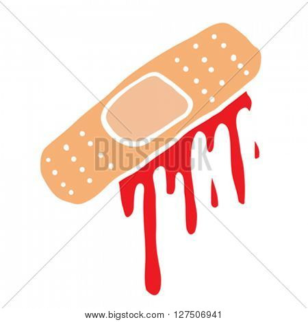 bloody injury tape plaster cartoon illustration