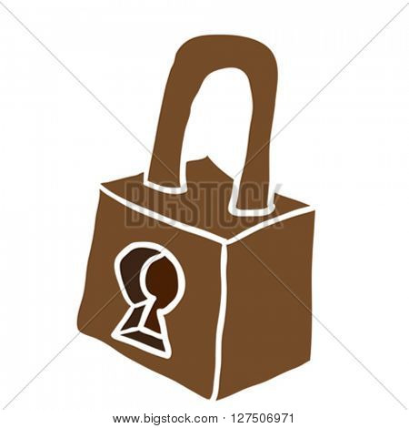 lock cartoon illustration isolated on white