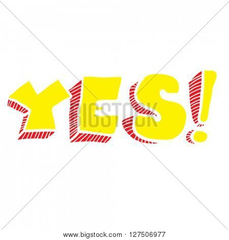 yes word cartoon illustration isolated on white