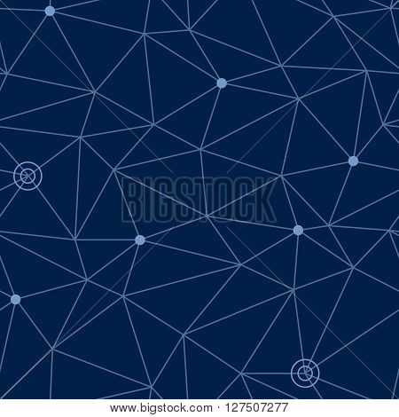 Abstract seamless pattern of cosmic space with styled net of paths and stars or way points at some nodes, eps10 vector illustration