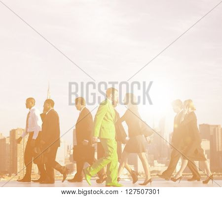 Office Workers Walking To Their Work Place Concept