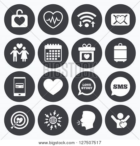 Wifi, calendar and mobile payments. Love, valentine day icons. Target with heart, oath letter and locker symbols. Couple lovers, heartbeat signs. Sms speech bubble, go to web symbols.