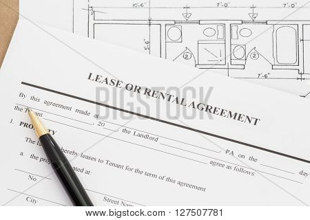 Close - up Lease or rental agreement form