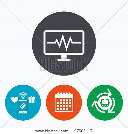 Cardiogram monitoring sign icon. Heart beats symbol. Mobile payments, calendar and wifi icons. Bus shuttle.