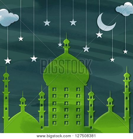 Creative Green Mosque on clouds and stars decorated background for Islamic Festivals celebration concept.