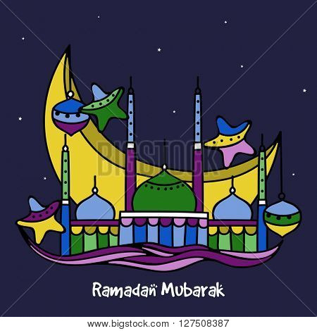 Creative colourful Mosque with big Crescent Moon, Lamps and Stars for Holy Month of Muslim Community Festival, Ramadan Mubarak celebration.