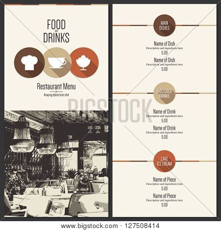 Restaurant menu design. Vector menu brochure template for cafe, coffee house, restaurant, bar. Food and drinks logotype symbol design. With a sketch pictures and flat icons