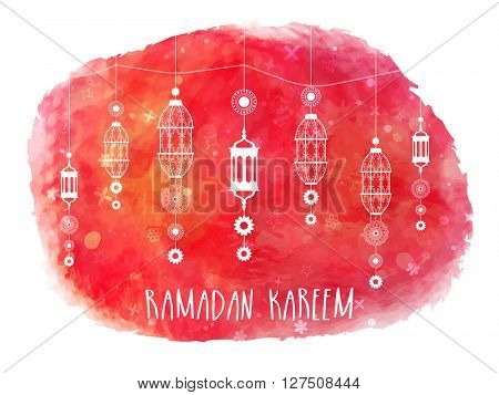 Elegant greeting card decorated with beautiful traditional hanging lamps on abstract background for Holy Month of Muslim Community Festival, Ramadan Kareem celebration.