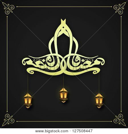 Glossy Arabic Islamic Calligraphy of text Ramadan Kareem with hanging illuminated lamps for Holy Month of Muslim Community Festivals celebration.