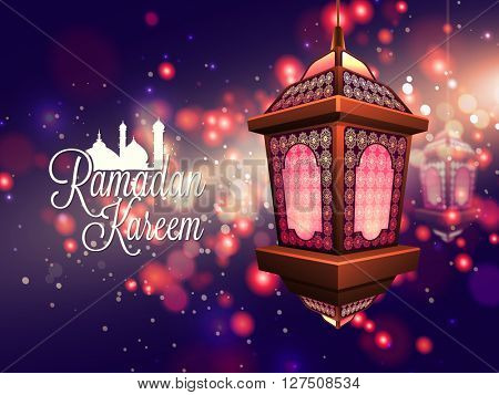 Beautiful traditional hanging Lamp on beautiful shiny background for Islamic Holy Month, Ramadan Kareem celebration.