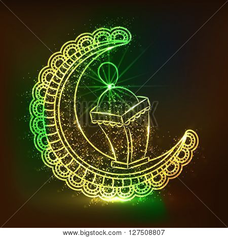 Beautiful floral design decorated, Shiny Crescent Moon and Lamp for Islamic Festivals celebration concept.