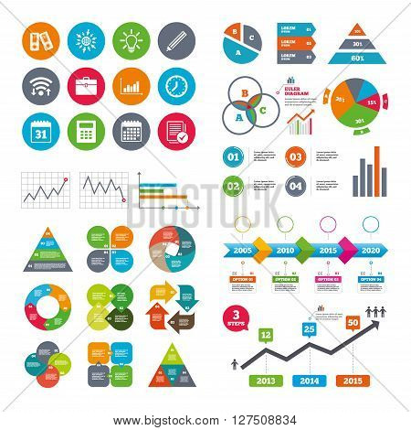Wifi, calendar and web icons. Office, documents and business icons. Accounting, calculator and case signs. Ideas, calendar and statistics symbols. Diagram charts design.