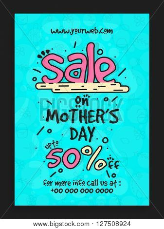Sale Template, Banner or Flyer design with 50% Discount Offer on occasion of Mother's Day celebration.