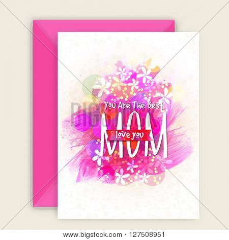 Creative Greeting Card design with Pink Envelope for Happy Mother's Day celebration.