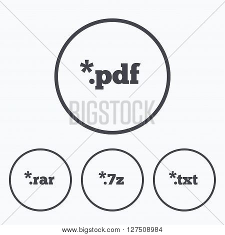 Document icons. File extensions symbols. PDF, RAR, 7z and TXT signs. Icons in circles.