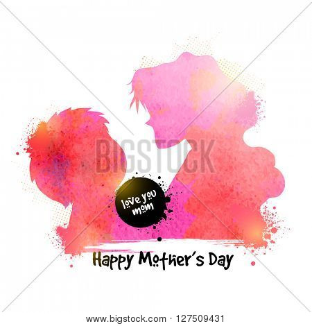 Creative illustration of a woman with her child, made by color splash for Happy Mother's Day celebration.