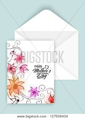 Beautiful flowers decorated greeting card design with envelope for Happy Mother's Day celebration.