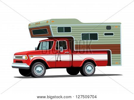 Camper Shell On Red Pickup Truck