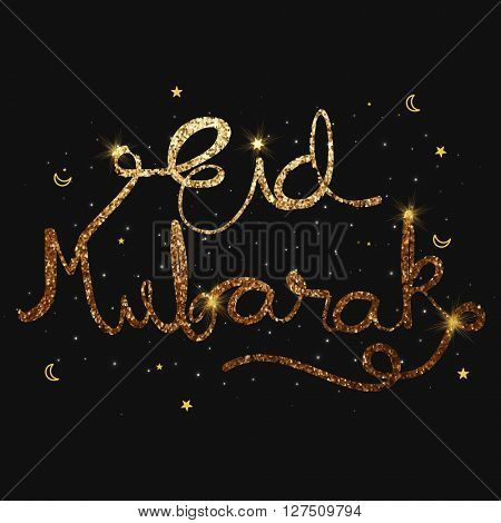 Golden Glittering Text Eid Mubarak on black Background, Elegant Greeting Card design for Islamic Famous Festival celebration.