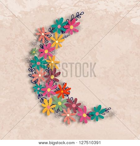 Creative Crescent Moon made by Colourful Flowers on grungy background for Islamic Festivals celebration concept.