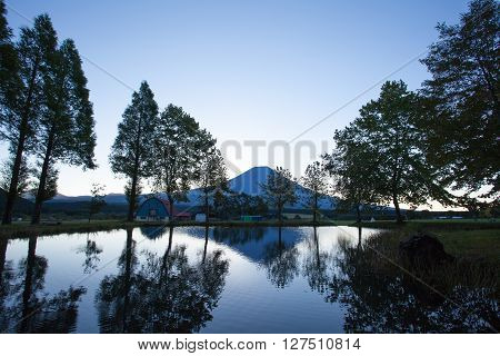 Mount Fuji with reflection in morning summer season