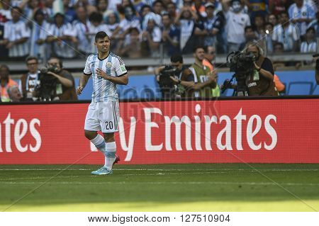 Belo Horizonte, Brazil - June 21, 2014: Sergio AGUERO of Argentina during the FIFA 2014 World Cup. Argentina is facing Iran in the Group F at Minerao Stadium.