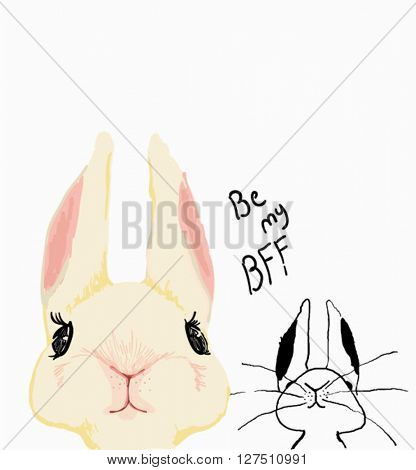 illustration rabbit sketch with family 2