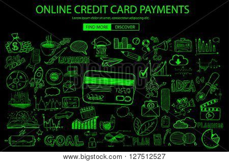 Online credit card payment concept with Doodle design style online purchases, banking, money spending. Modern style illustration for web banners, brochure and flyers.
