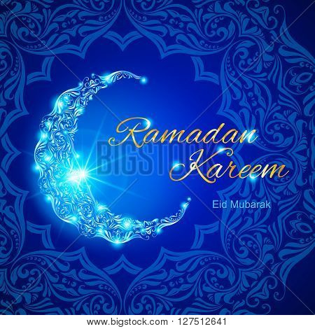 Glowing ornate crescent with bright flare and asian floral ornament in background. Illustration in blue shades. Greeting card of holy Muslim month Ramadan