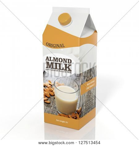 3D rendering illustration of pack of Almond milk on white background.Isolated.